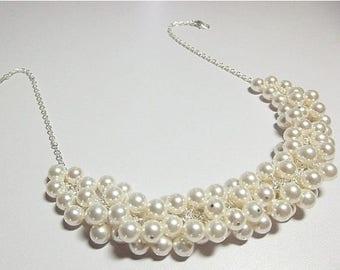 30% OFF SALE thru Mon Swarovski White Ivory Pearl Cluster Necklace, Mothers Day Mom Sister Grandmother Bridesmaid Birthday Wedding Wife Jewe