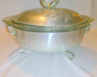 Vintage Fire King Hammered Aluminum Covered Divided Casserole Dish