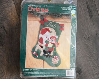 Bucilla Gallery of Stitches Santa Claus  Felt Stocking Kit DIY All I Want For Christmas Personalized