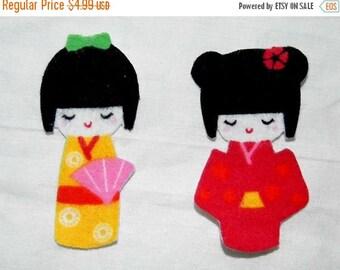 ON SALE 50% OFF Kokeshi Japananese Geisha Diy  Iron On Fabric  Appliques Set of 2  No Sew