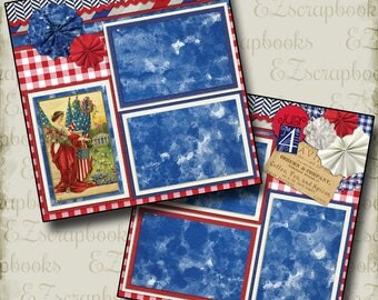 FREEDOM - 2 Premade Scrapbook Pages - EZ Layout 55