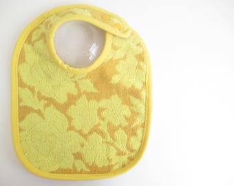 EcoBib--Adjustable Snap Closure--Vintage Two Tone Yellow Floral Design--Ready to Ship