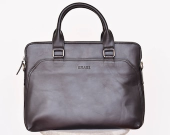 Leather laptop bag men - Men's briefcase - Laptop briefcase - Leather messenger bag - Mens portfolio - Slim laptop bag - 13 inch laptop bag