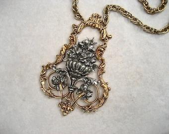 Vintage Signed ART Necklace Huge Victorian Revival Lavalier Bouquet Urn Mixed Metal