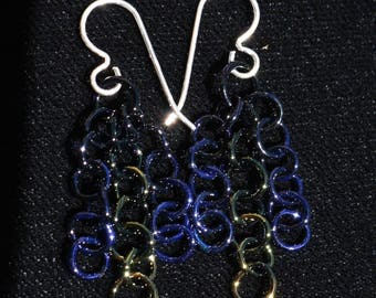 Black & Fume Chain Earrings