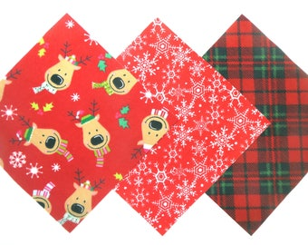 "Clearance 36 Square Rag Quilt Top 6""x6"" Pre Cut Holiday Flannel in Reindeer, Snowflakes and Plaid Matching Prints"
