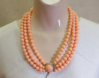1960's  20 Inch 3 Strand Peach Bead Necklace,