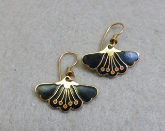 Vintage Laurel Burch Black Floral Pierced Earrings