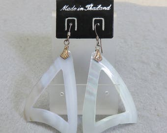 1980s White Mother of Pearl Cut Out Triangle Pierced Earrings