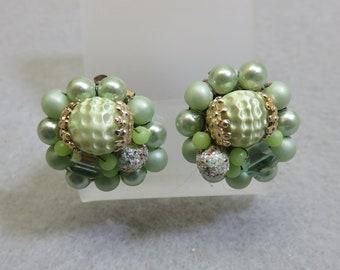 Beaded Mint Green Faux Pearl  Clip On Earrings, 1960  Clip On Earrings
