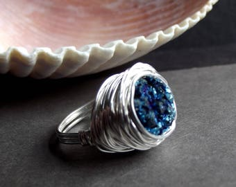 Blue Druzy Ring: Sterling Silver Wire Wrapped Ring, Metallic Galaxy Blue Agate Drusy Ring, Size 8 Ring