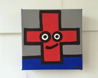 "Red Cross - Original Acrylic Painting - 6"" x 6"" x 1 1/2"""