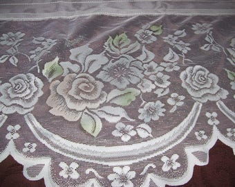 Three Ivory Lace Valances with Hint of Rose, Blue and Green accents, 15x52 inches