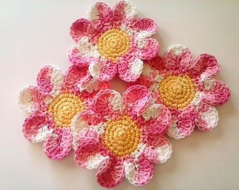 Daisy Coasters - Strawberry Blossoms - Set of 4 Large Cotton Coasters