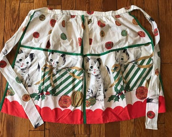 Vintage Christmas Cats Kittens Apron with Pockets