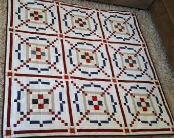 Patriotic Quilt wall hanging, throw or youth bed quilt, patriotic wall hanging Brand New