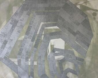 "Etching .Original Intaglio Print . Silver + Olive green: ""Modular"" .12"" x 14"" Unframed"