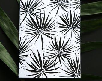 Black & White Original Palm Leaf Blank Note Card
