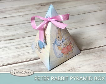 Peter Rabbit pyramid box printable Beatrix Potter diy paper crafting favor digital download instant download digital sheet - VDBXBP1720