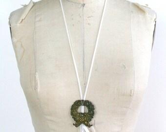 ON SALE Metal Velvet Wreath Necklace / Gold White Velvet - LAVINIA Wistful Flapper Necklace Ready-to-Ship Ooak
