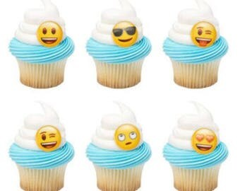12 Emoji Moods Cupcake Cake Rings Birthday Party Favors Toppers