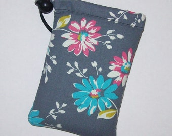 "Pipe Pouch, Grey Floral Bag, Pipe Bag, Glass Pipe Case, Padded Pipe Pouch, Flowers Bag, 420, Smoke Accessory, Stoner Gifts - 5"" DRAWSTRING"