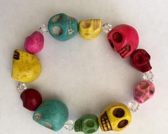 """Great Sale Skull and Crystal Bracelet Howlite Multicolored Size 7 1/2"""""""