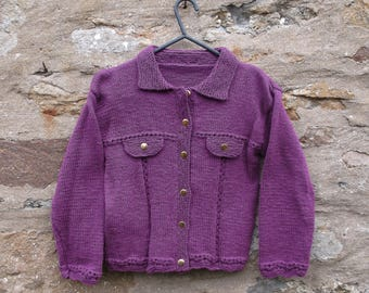 "Girl's hand knitted plum / damson collared jacket. 28"" chest."