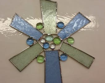 Stained Glass Star Sun Catcher Blue and Green and Blue Stained Glass Window Art Glass Sun Catcher
