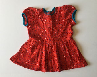 1950's Red Leaf Print Dress (2t)