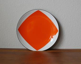 "Cathrineholm orange White Draped square diamond tent pattern 7.5"" plate  RARE  Mid century modern enamel charger"