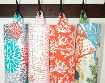 AUGUST SALE Plastic Bag Holder Grocery Bag Storage Kitchen Bag Storage Orange Coral Fish Nautical Blooms Teal Newspaper Storage Bag Holder