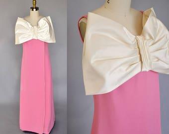 60s pink maxi dress | vintage 60s long dress with oversized bow | 60s sleeveless maxi dress