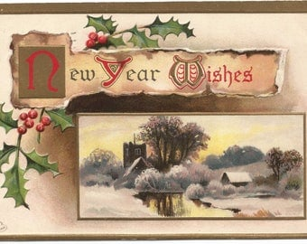Old European Countryside Castle by Lake or River Winter Scene Happy New Year Vintage Postcard Holiday Greeting Card