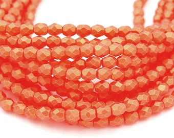 Fire Polished Sueded Gold Hyacinth Orange Glass Bead 4mm Round - 50
