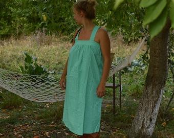 Vintage 80s polka dot dress green summer dress strappy dress