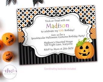 Halloween Costume Party Invitation, Kids Halloween Birthday Invitations, Halloween Kids Party Invitation, Halloween Birthday Invitation