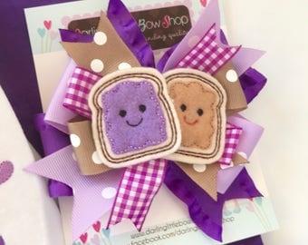 Peanut Butter Jelly hairbow -- We go Together Like PB and Jelly --  peanut butter and jelly theme bow optional headband -- purples and tans