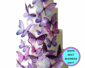 Wedding Cake Topper - Purple Edible Butterfly WEDDING DECORATIONS - Winter Wedding, Spring Wedding Ideas, Birthday Cake, Destination Wedding