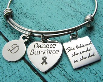 cancer survivor gift, recovery bracelet, cancer warrior jewelry, she believed she could, cancer free get well, remission gift encouragement