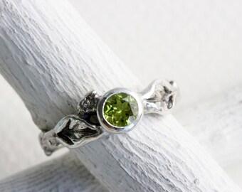 Peridot Silver Leaf Twig Ring, Leaf Ring