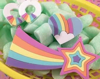 White Sixties hoop earrings with rainbow detail