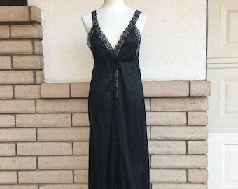 Vintage Black Lace Nightgown Dress Size Small-Medium