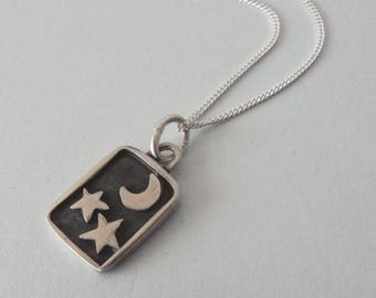 Silver Star and Moon Pendant and Chain