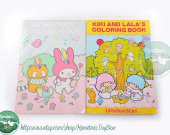 Vintage Sanrio Coloring Books Set of 2: Melody + Kiki and Lala 70s / 80s TLC