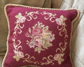 Vintage Accent Pillow in Aubusson style Petit Point Floral Pattern