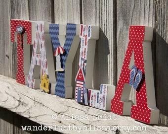 Beach Nursery Letters, Custom Wooden Letters, Baby Girl Baby Boy (sandcastle, flip flops, beach hut, beach umbrella) 7 Inch Size