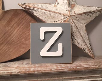 Wooden Letter Blocks, 3D letter, Signs, Letter Z, 15cm square, all letters available, rustic finish