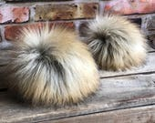 Sand Storm Faux Fur Pom Poms Off White Honey Beige Brown Tips Beanies Hats Keychains Purse Fob Charm Vegan Fake Plush Long Pile Craft Supply