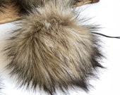 Alatian Faux Fur Plush Large Black Pom Pom Handmade Fake Vegan for Toques Beanies Hats Keychains Purse Zipper Fob